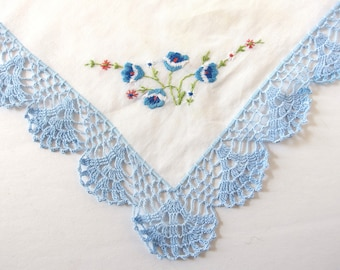 Vintage White Handkerchief with Blue Hand Crocheted Lace Border