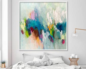 Large painting PRINT, giclee print of acrylic painting abstract art, aqua teal feminine wall art by Duealberi