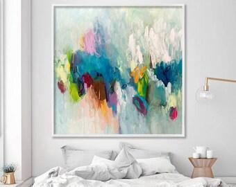 Großes Bild drucken, Giclée-Druck von Acryl-Malerei abstrakte Kunst, Aqua-Petrol feminin Wandkunst von Duealberi