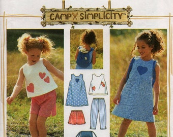 Uncut Girls' DRESS Top SHORTS Capri Pants BAG Pattern Simplicity 7150 Size 5-6x  2 Hour Separates Camp Heart Appliques Casual Sewing