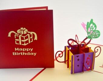 Birthday Card Butterfly- Happy Birthday Card - Pop Up Card - Greeting Card - Birthday Card - Card for a Birthday - Greetings