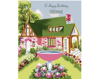 Vintage Original unused Greeting card Birthday Mother -Thinking About you with Love
