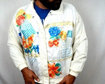 Vintage 80s Floral 3D Windbreaker Jacket Coat
