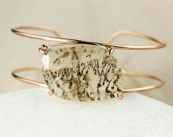 Rose Gold Tree Branch Quartz Cuff Bracelet - Dendritic Quartz Cuff - Dendrite Quartz