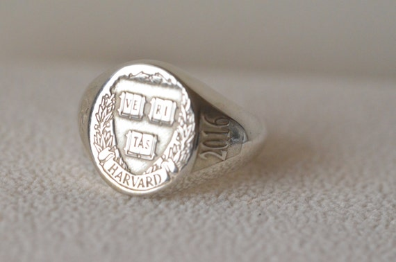 Plata esterlina anillo de College Harvard Universıty