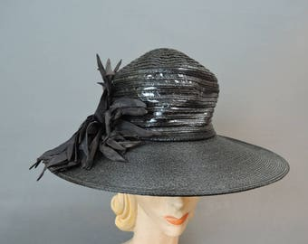 Vintage Wide Brim Hat, 1940s Straw & Shiny Vinyl, fits 21 inch head, 15 inches wide 1930s