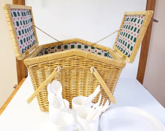 Vintage Wicker Picnic Basket with plates, cups and utensils