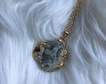 Agate Geode Slice 18k Gold Necklace
