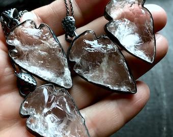 Raw crystal necklace | rough crystal stone | dagger stone necklace | clear crystals rock quartz talisman