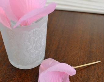 Pink Food Picks Hors D'ouevres roses, Set of 12 Food Decoration, tooth picks wedding bridal shower party