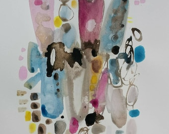 Abstract in Brown, pink and pale blue. Original watercolor on cotton paper