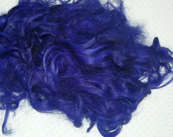 Karakul Sheep Wool Locks for Spinning Felting and Doll Hair, Doll Wig, Troll Hair, Hand Dyed shades of Violet, Purple 1 oz.