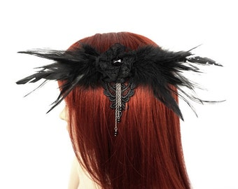 Gothic Headpiece mit Federn und Perlen