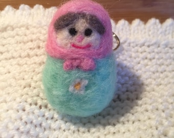 Needle felted Russian Doll Keyring (various colours)