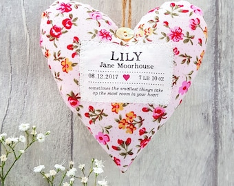 Baby Girl Gift - Personalised Heart Produced in Your Choice of Fabric. Supplied Gift Boxed. Newborn girl present.
