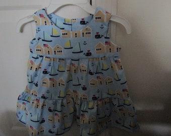 Girls toddler tiered ruffle dress sailboat nautical blue whale american flag ocean beach house size 3T