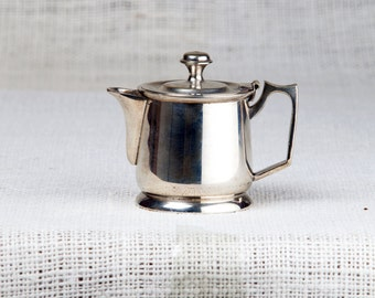 Vintage white metal Teapot small Hinged Lid EPNS Made in England Art Deco Style Home and Living Kitchen and Dining Serving