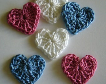 Crocheted Hearts - Blue, Rose Pink and White - Cotton Hearts - Crocheted Heart Appliques - Crocheted Heart Embellishments - Set of 6