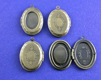 4 pcs - Antiqued Brass Oval Locket, 18mmx13mm Setting for Cameo or Cabochon - AB-B12992H-8S