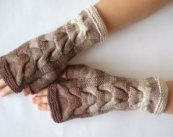 SALE: handmade BROWN, beige, cream ( multicolor ) fingerless gloves, wrist warmers, fingerless mittens. Knitted of 100 % wool. Cable gloves.