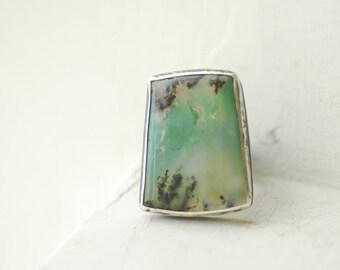 Chrysoprase Ring, Kelp Wearable Art, Mint Green Jewelry