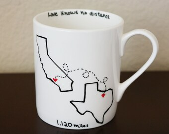 State to State Coffee Mug with Quote, Gift for Best Friend, Going Away Gift, Moving Away, Long Distance Relationship Gift, Valentines Day