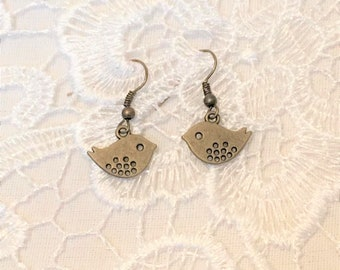 cute bird earrings bronze kitsch