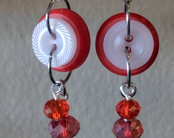 Red and White Dangle Earrings Made from Buttons