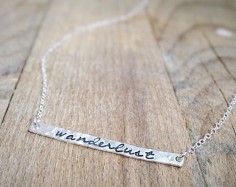 Wanderlust - Simple Bar Necklace - Silver Thin Bar - Nature Jewelry - Hand Stamped Sterling Silver - Meditation - Girlfriend Gift - Dainty
