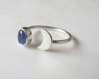 Moon Ring, Half Moon Ring,Size 8.5 US Open Stone Ring, Sterling Silver, Tanzanite Ring, Crescent Moon Ring, Handmade Ring,  Stacking Ring