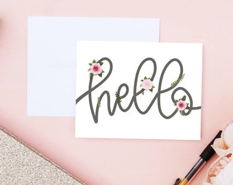 Floral Hello Card, Greeting Card, Floral Card, Floral Stationery