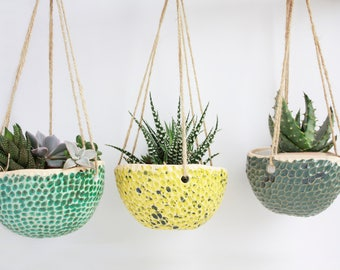 Set of 3 succulent hanging planter - Wall Succulent Planter - Plant Hanger - Ceramic Planter - Plant Holder - Succulent Planter - Plant Pot