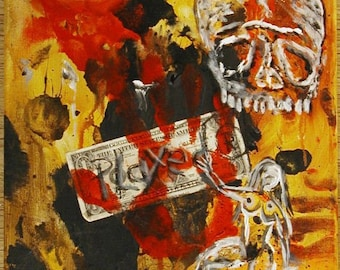Played fluxus collage painting on canvas