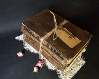 Book Set for Decorating on trend decor Library decor Book bundle Altered book Distressed rustic Bookshelf decor faux book home accent
