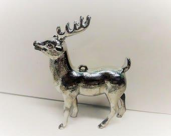 Vintage Silver Plastic Reindeer Ornament SD283