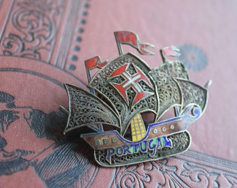 Antique Enamel 800 Silver Ship Brooch, Portugal Enamel Filigree Pin, Sailing Ship Boat Brooch, Jewelry gift for her or him