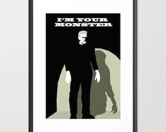 Frankenstein poster-Halloween decor-Monster print-Cinema lover wall art-Black and white Cool gothic print-Decorative Art Print-Large Print
