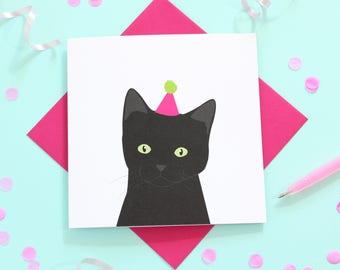 Birthday black cat card