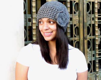 Crochet Hat, Beanie, Cloche, Flower, Adult, Women, Teen, Gray, Ready To Ship,