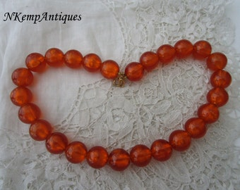 Faux amber necklace