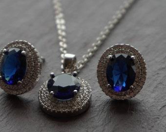 blue jewelry set, jewelry set, blue earrings, blue jewelry, blue necklace, bridesmaid gift, wedding jewelry, blue pendant, something blue