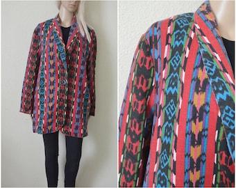 Aztec jacket Tribal pattern Ethnic coat Womens vintage 90s Navajo Colourful Print Red Blazer Boho folk Woven Oversized Southwestern S M L