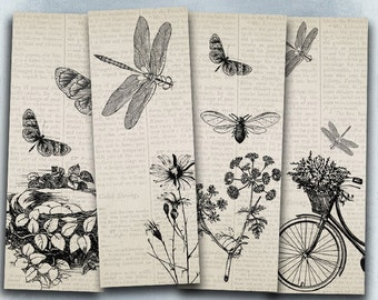 75% OFF SALE BW Insects - Digital vintage bookmark B021 collage sheet printable download bugs digital image flyer collage hexapod flier