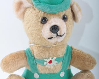 Cute, Vintage, German, Teddy Bear, Plush, Soft, Brown, Stuffed, Animal, Dressed, Green Pants, Tyrolean Hat, Feather ~ The Pink Room ~ 170407