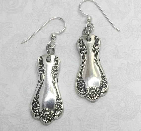 """Demitasse Spoon Earrings, Silver Dangle Earrings, Silverware Jewelry """"Daybreak"""" 1952"""