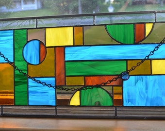 Large Stained Glass Panel with a great Fall / Autumn color theme!!!!