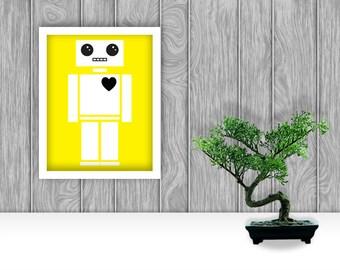 Robot Digital Art Print - Yellow