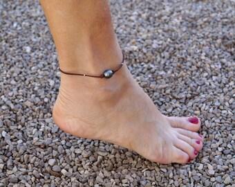 Tahitian pearl, woman ankle bracelet, silver sterling, australian leather