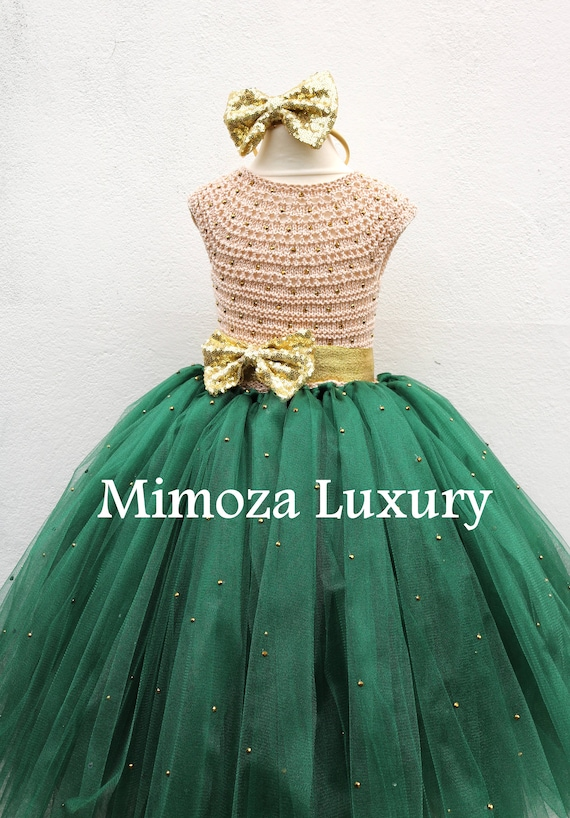 Bottle Green & Gold Christmas dress, dark green gold tutu dress, bottle green and gold bridesmaid dress, hunter green gold princess dress
