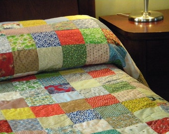 Quilts, Patchwork bed Quilt--Queen Size--93 X 93--all cotton blanket, retro vintage look, primary colors, bedding decor, handmade